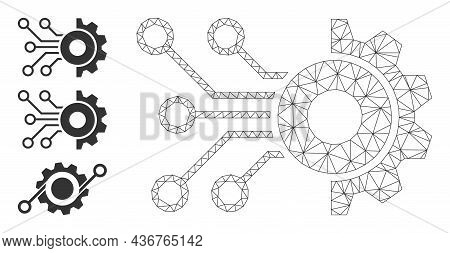 Web Mesh Gear Circuit Vector Icon, And Additional Icons. Flat 2d Carcass Created From Gear Circuit P