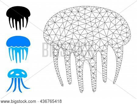 Web Net Jelly Fish Vector Icon, And Original Icons. Flat 2d Carcass Created From Jelly Fish Pictogra