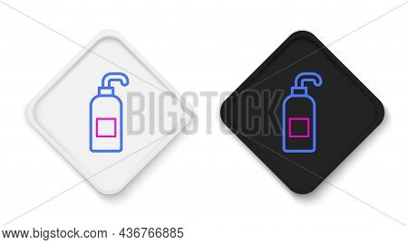 Line Bottle Of Liquid Antibacterial Soap With Dispenser Icon Isolated On White Background. Antisepti