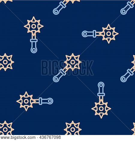 Line Medieval Chained Mace Ball Icon Isolated Seamless Pattern On Blue Background. Morgenstern Medie