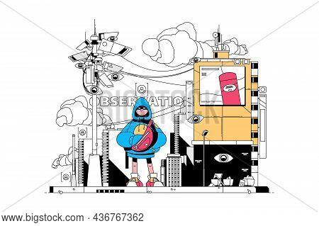 Observation Of People Vector Illustration. Boy Standing On Platform Wearing Hoodie Flat Style. Video