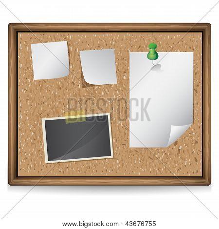 Ilustración de tablón de anuncios con fotos y notas en blanco