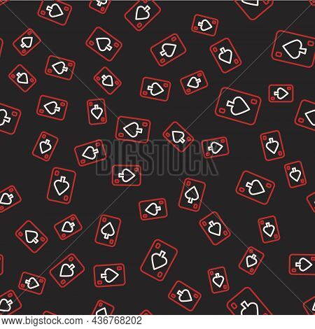 Line Playing Cards Icon Isolated Seamless Pattern On Black Background. Casino Gambling. Vector
