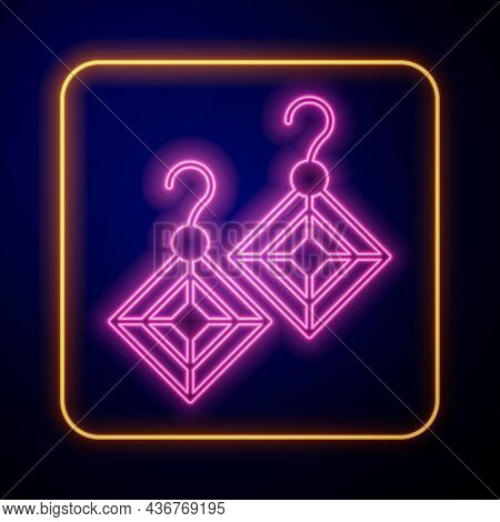 Glowing Neon Earrings Icon Isolated On Black Background. Jewelry Accessories. Vector