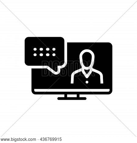 Black Solid Icon For Represented Conversation Describe Delineate Defined Expressed