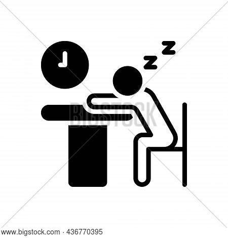 Black Solid Icon For Idle Inactive Passive Lazy Sluggish Slack Useless Student Sleep