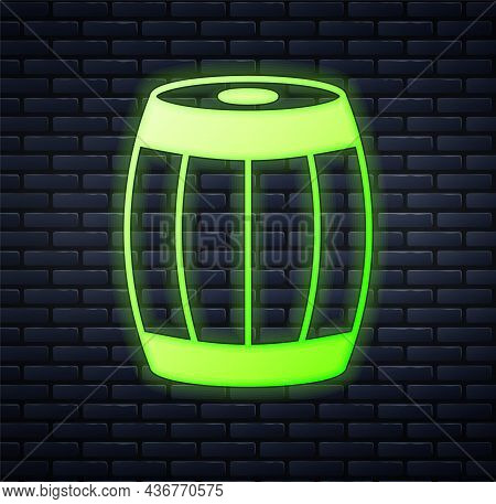 Glowing Neon Wooden Barrel Icon Isolated On Brick Wall Background. Alcohol Barrel, Drink Container,