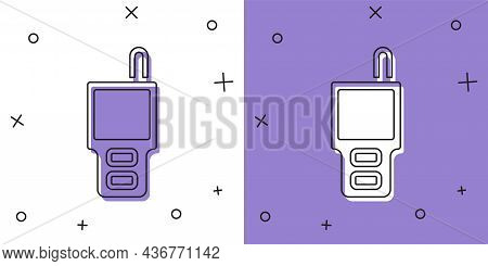 Set Walkie Talkie Icon Isolated On White And Purple Background. Portable Radio Transmitter Icon. Rad