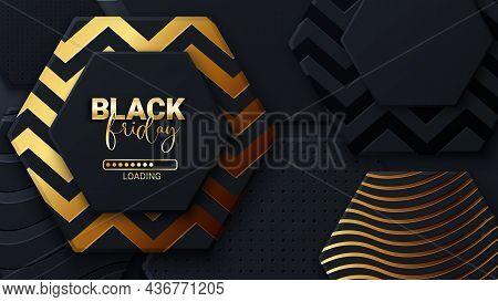 Black Friday Loading Bar Background, Banner Poster Design Template. Progress Loading Bar. Black Frid