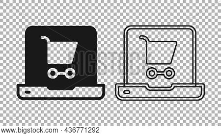 Black Shopping Cart On Screen Laptop Icon Isolated On Transparent Background. Concept E-commerce, E-