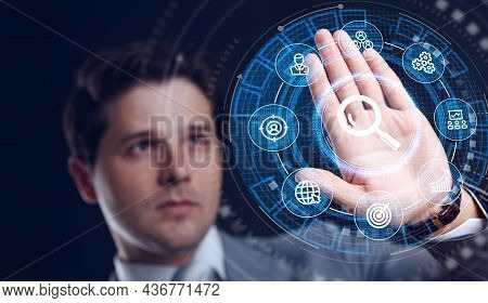 Search Button. Searching Browsing Internet Data Information Networking Concept. Just Push The Button