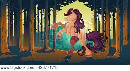 Wild Horse Rearing Up In Forest. Majestic Stallion In Nature. Vector Cartoon Illustration Of Woodlan