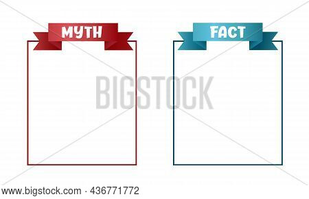 Myths And Facts Sign. Myths Vs Facts Header Design With Frame For Text. True Or False Facts Banner.
