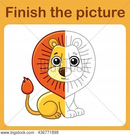 Connect The Dot And Complete The Picture. Simple Coloring Lion. Drawing Game For Children