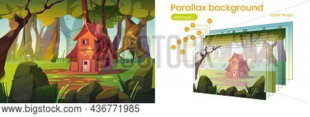 Parallax Background Wooden House In Summer Forest. Old Shack In Deep Wood 2d Nature Landscape. Carto