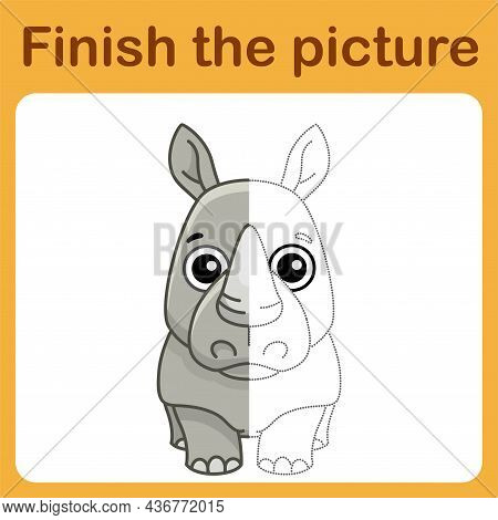 Connect The Dot And Complete The Picture. Simple Coloring Rhino. Drawing Game For Children