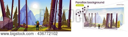 Parallax Background Traveler At Forest With Mountains View 2d Scenery Nature Landscape. Travel Journ