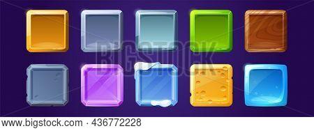 Game Ui App Icons, Square Buttons, Cartoon Menu Interface Textured Blocks. Gui Graphic Design Elemen