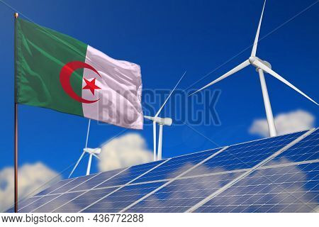 Algeria Renewable Energy, Wind And Solar Energy Concept With Wind Turbines And Solar Panels - Altern