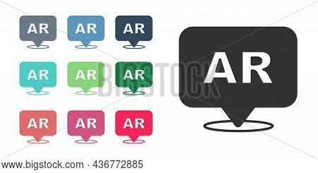 Black Augmented Reality Ar Icon Isolated On White Background. Virtual Futuristic Wearable Devices. S
