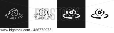 Set 360 Degree View Icon Isolated On Black And White Background. Virtual Reality. Angle 360 Degree C