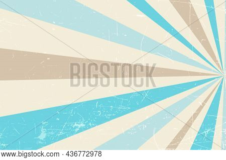 Grunge Retro Spiral Background In Pastel Colors. Abstract Retro Background With Color Rays. Beige Vi