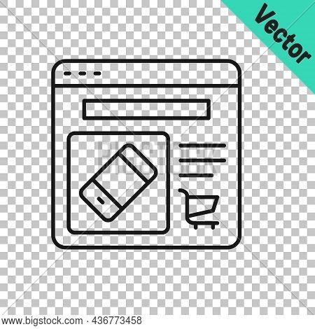 Black Line Online Shopping On Screen Icon Isolated On Transparent Background. Concept E-commerce, E-