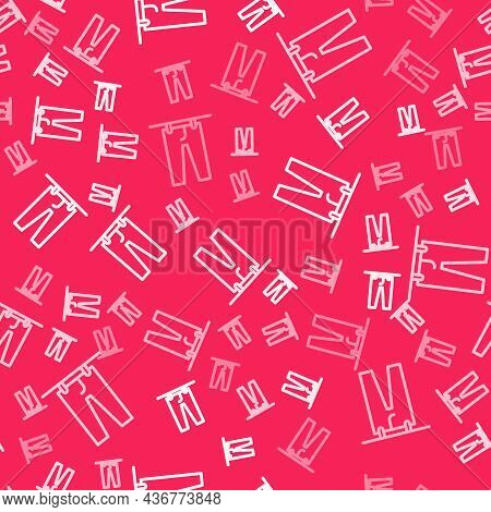 White Line Drying Clothes Icon Isolated Seamless Pattern On Red Background. Clean Pants. Wash Clothe