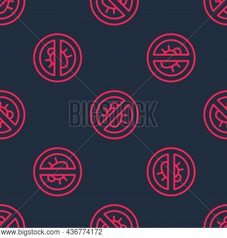 Red Line Stop Colorado Beetle Icon Isolated Seamless Pattern On Black Background. Vector