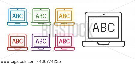 Set Line Laptop Icon Isolated On White Background. Computer Notebook With Empty Screen Sign. Set Ico