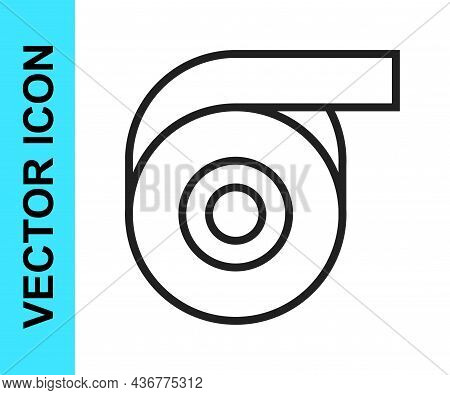 Black Line Scotch Tape Icon Isolated On White Background. Roll Adhesive Tape. Insulating Tape. Vecto