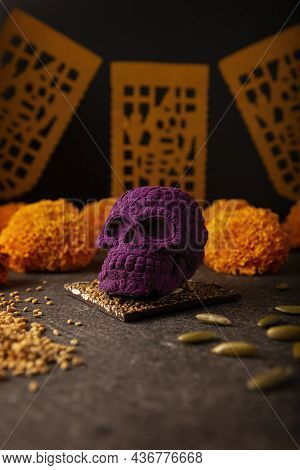 Mexican Skull Made Of Chocolate. In Mexico Culture Named