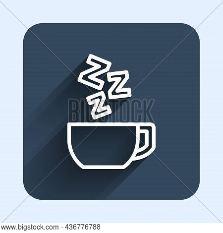 White Line Chamomile Tea Icon Isolated With Long Shadow Background. A Useful Therapeutic Drink From
