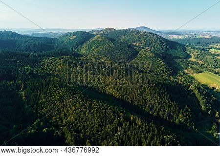 Beautiful Landscape With Mountains Covered With Forest And Agricultural Fields, Aerial View.