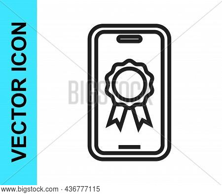 Black Line Online Education With Diploma Icon Isolated On White Background. Diploma Online At Home.