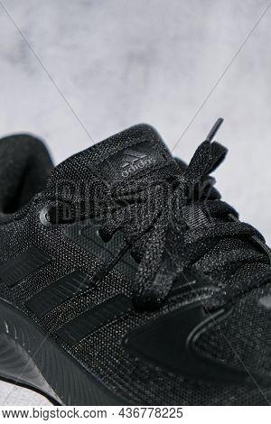 Kiev Ukraine - October 2021 Black Adidas Running Boots. Multinational Company. Product Shots. Adidas