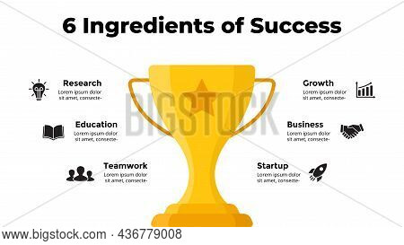 Golden Winner Cup. Success Infographic. Presentation Slide Template. Diagram Chart With 5 Steps, Pro