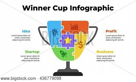 Puzzle Winner Cup. Success Infographic. Presentation Slide Template. Diagram Chart With 4 Steps, Pro