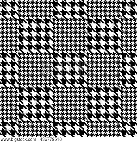 Glen Check Plaid Pixel Houndstooth Seamless Pattern. Vector
