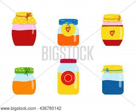 Glass Jar With Homemade Jam. Fruit Orange, Red, Yellow And Blue Jam. Strawberry, Peach And Banana Ja