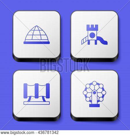 Set Playground Climbing Equipment, Slide Playground, Kid Slide Pipe And Ferris Wheel Icon. White Squ