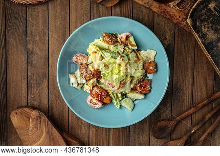 Portion Of Fresh Mixed Salad With Fried Chicken