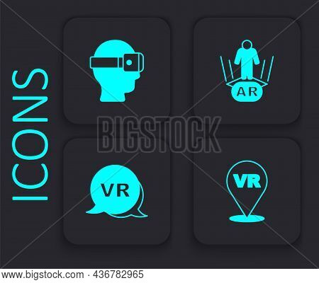 Set Virtual Reality, Glasses, Augmented Ar And Icon. Black Square Button. Vector