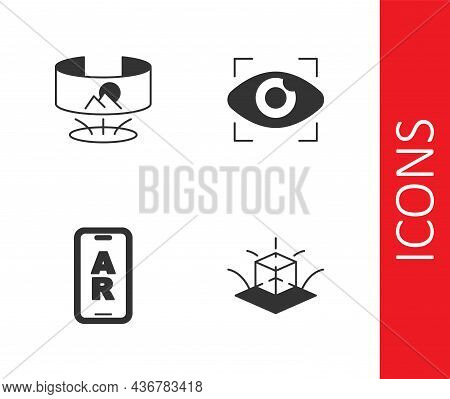 Set 3d Modeling, 360 Degree View, Augmented Reality Ar And Big Brother Electronic Eye Icon. Vector