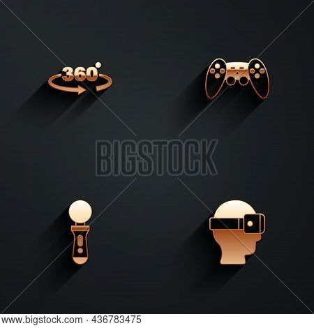 Set 360 Degree View, Gamepad, Vr Controller Game And Virtual Reality Glasses Icon With Long Shadow.