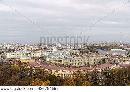 Panorama Of St. Petersburg From The Background Height. View Of The Rooftops Of St. Petersburg In Aut