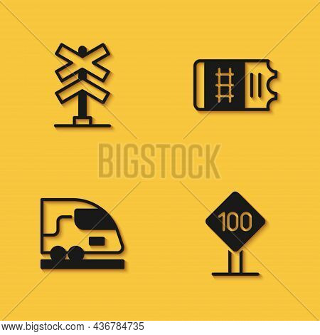 Set Railroad Crossing, Speed Limit Traffic Sign 100 Km, High-speed Train And Train Ticket Icon With