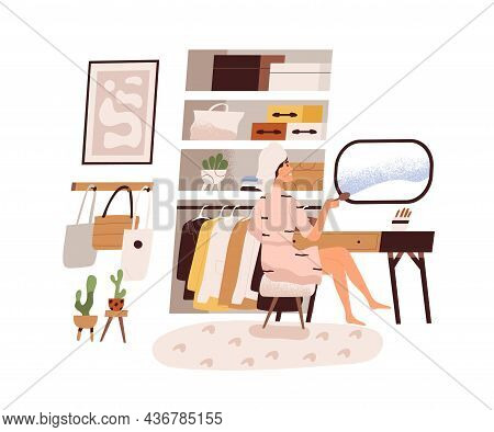 Woman In Wardrobe Room, Sitting At Dressing Table With Mirror In Cozy Home. Female In Bathrobe After