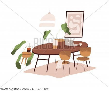 Dining Room Interior Design. Cozy Minimalistic Home With Round Wood Table With Laptop, Chairs, House