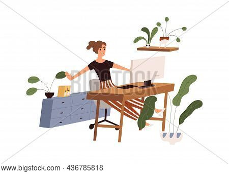 Happy Office Worker At Workplace, Finishing Her Work With Computer. Woman Stretching At Table At End